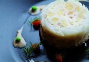 Charlotte de merlan à l'andouille de Vire et aux pommes, beurre de cidre